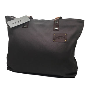 IVETH Canvas tote bag with leather straps