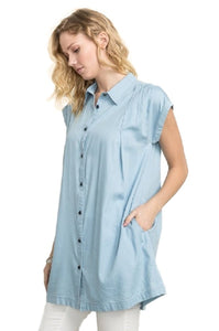 Pleated Shoulder Denim Like Tunic Dress by IVETH