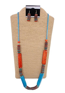 Wax Cord with Wood Round Disk and Rectangular Capiz Tubes Set by IVETH