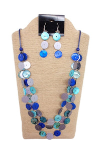 Wax Cord with Sequins Buttons Necklace Set by IVETH