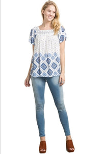 Chevron Smocked Neck Printed Top By IVETH
