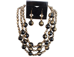 IVETH 3 Strands Gold Beads with Black and Gold Marble Look Necklace Set (15213)