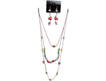 IVETH 3 Strands Purple Wax Cord with Layered with Stone and Buri Necklace Set