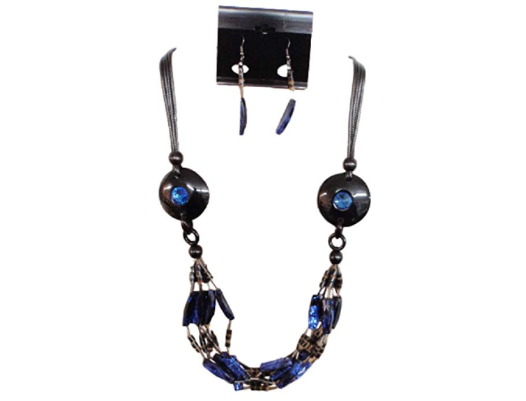 IVETH 4 Strands Black Wax Cord with Two Round Resin with Blue Blings with Bamboo Bib Style Necklace Set (15662)
