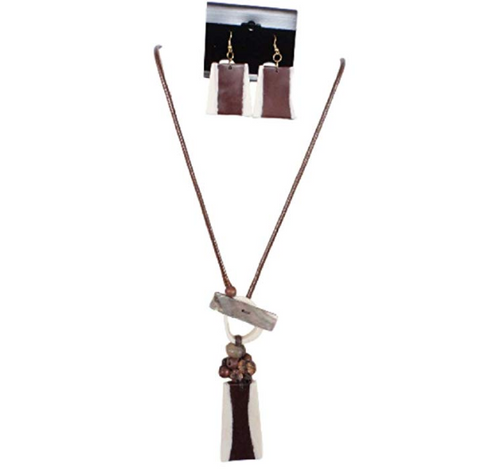 IVETH Brown Wax Cord with Irregular Shape Brown Pin Resin Necklace Set