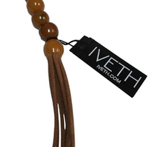 IVETH Rust Beads with Wax Cord with Round Donut Shell Pendant Necklace Set