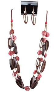 IVETH Wax Cord with Three Strands Shells Multiple Strands Necklace Set