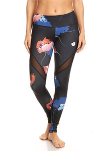 Sports Athletic Gym Workout Fitness Stretch Flower Printed Yoga Legging with Mesh Panel Black