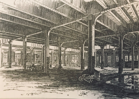 Drawing of Reading Terminal Market Under Construction 1892