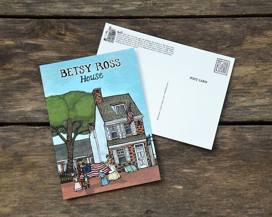 Betsy Ross House - 5 x 7 inch Illustrated postcard