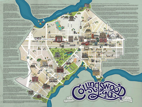 18 x 24 inch Collingswood history Map Poster
