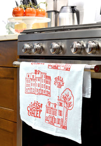 Elfreth's Alley Philadelphia Tea Towel - Screen Printed