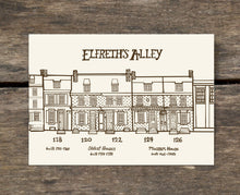 Elfreth's Alley, Philadelphia, PA - 5 x 7 inch Illustrated postcard