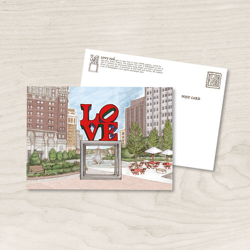 LOVE Park Philadelphia - 5 x 7 inch Postcard/ Art print - Philly Valentine