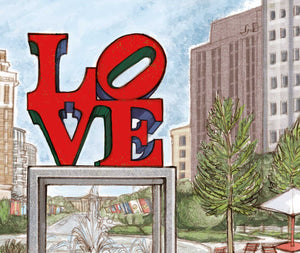 Love Park Philadelphia Art Print - Hand drawn wall Art - 11 x 14 inches