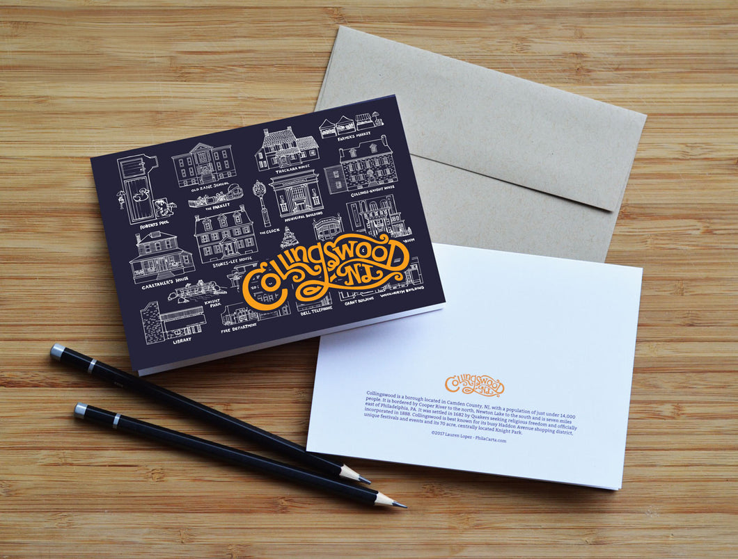 Collingswood, NJ Hand Drawn Landmarks Greeting card