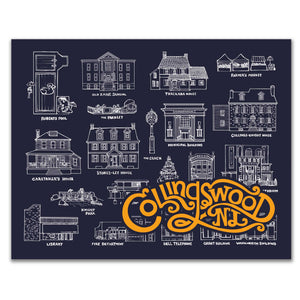 Phila Carta Collingswood NJ Landmarks 11 x 14 inch Navy Art Print with original hand drawn illustrations