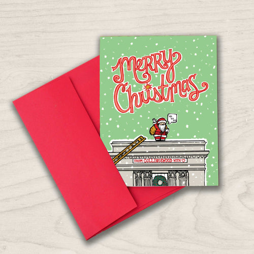 Collingswood, NJ Holiday card - Merry Christmas - Santa Arrives at Borough Hall