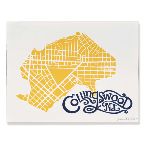 Collingswood, NJ Map Screen print - 11 x 14 inch Art Print