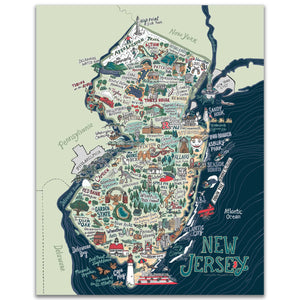 New Jersey Illustrated Map - 11 x 14 inch NJ Art Print