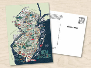 New Jersey Illustrated Map Postcard - 5 x 7 inch NJ map art print