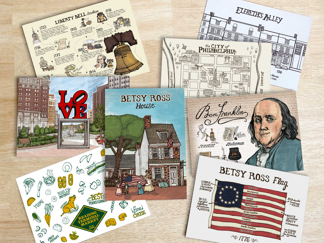 Philadelphia Postcard Set - 8 Bestselling 5 x 7 inch post cards