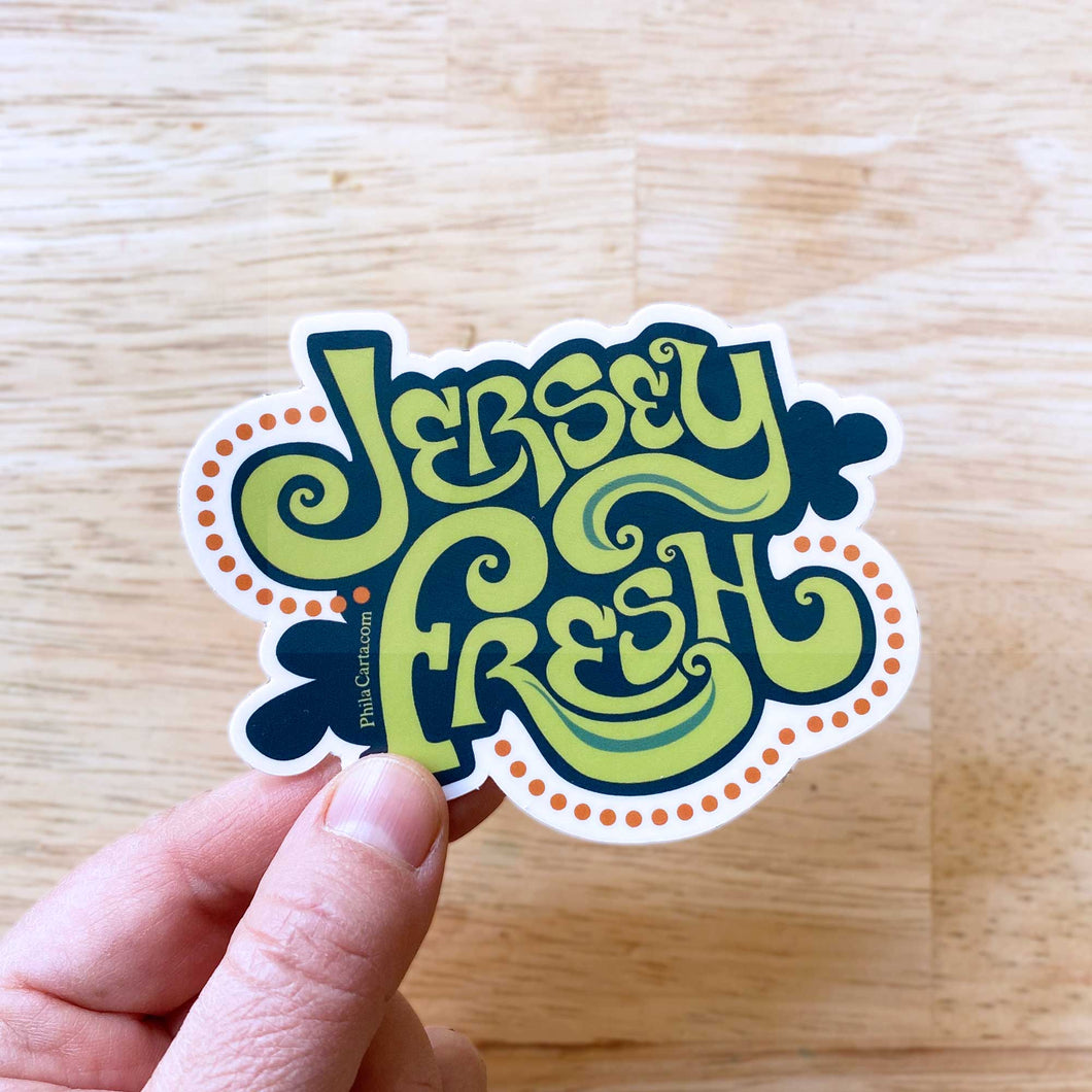Jersey Fresh NJ Sticker - New Jersey Decal - Water bottle sticker / laptop sticker