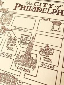 Illustrated Map of Philadelphia - 11 x 14 inch Letterpress Print
