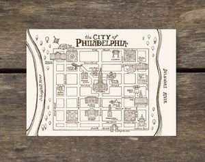 Philadelphia Vintage Map Postcard - Center City Neighborhood