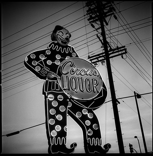 Neon Circus Liquors Sign, USA, Black and White
