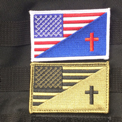 Split American and Christian Flag Patch