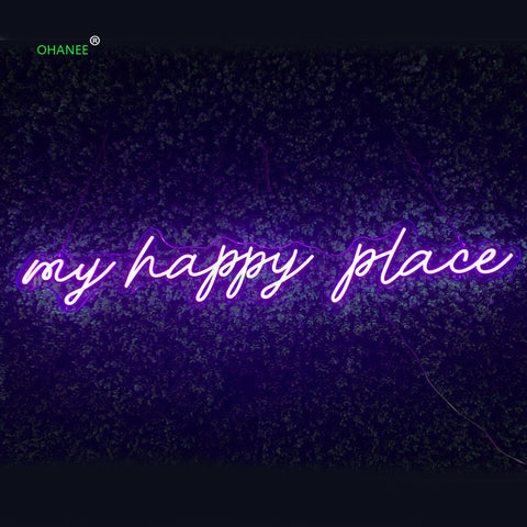 Custom 12V Led Neon Signs Light for my happy place Acrylic Home Room Wall Decoration Ins Party Wedding Signs