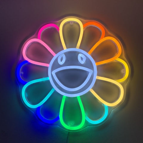 Custom 12V Led Neon Signs Light for Smile Sunflower Acrylic Home Room Wall Decoration Ins Party Wedding Signs