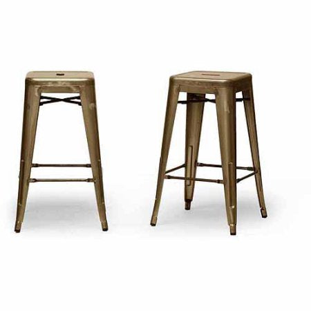 Wholesale Interiors M-94115-26-Bronze-PSTL French Industrial Modern Counter Stool in Bronze - Set of 2