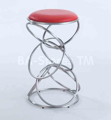 Chintaly 0545-BS-RED Interlocking Multi-Ring Bar Stool