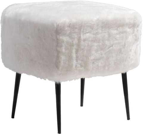 Zuo Modern 100192 Fuzz Stool Color White Painted Steel Finish - BarstoolDirect.com - 1