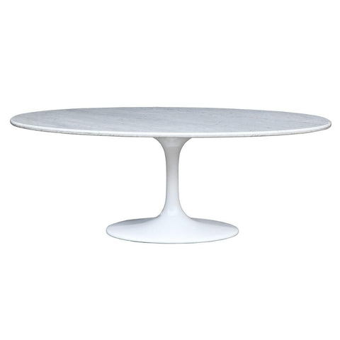 "Fine Mod Imports FMI10024-white Flower Marble Table Oval 78"", White - Peazz.com - 1"