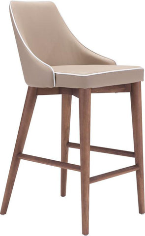 Zuo Modern 100279 Moor Counter Chair Color Chair Beige Powder Coated Metal, Solid Wood Finish - BarstoolDirect.com - 1