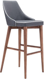 Zuo Modern 100282 Moor Bar Chair Color Dark Gray Powder Coated Metal, Solid Wood Finish - BarstoolDirect.com - 1