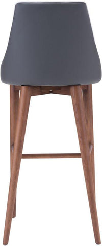 Zuo Modern 100282 Moor Bar Chair Color Dark Gray Powder Coated Metal, Solid Wood Finish - BarstoolDirect.com - 4