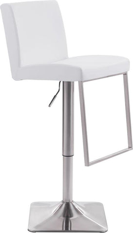 Zuo Modern 100311 Puma Bar Chair Color White Brushed Steel Finish - BarstoolDirect.com - 1
