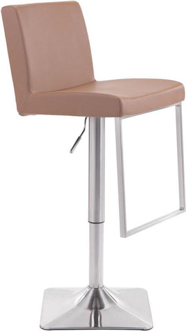 Zuo Modern 100312 Puma Bar Chair Color Taupe Brushed Steel Finish - BarstoolDirect.com - 1
