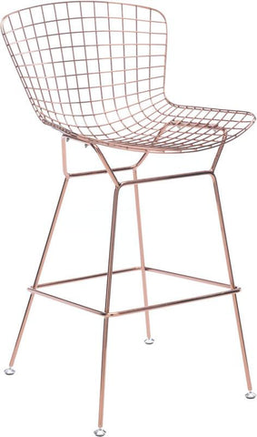Zuo Modern 100362 Wire Bar Chair Color Rose Gold Chromed Steel Finish - Set of 2 - BarstoolDirect.com - 1