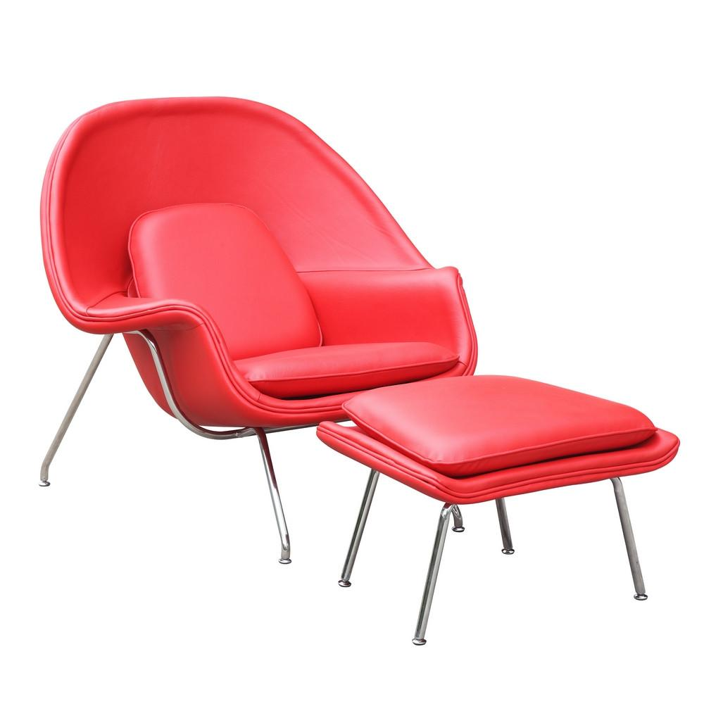 Chair Ottoman Leather Red Woom