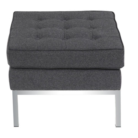 Fine Mod Imports FMI10045-gray Button Ottoman in Wool, Gray - Peazz.com - 1