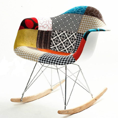 Fine Mod Imports FMI10098-colored Patterned Rocker Arm Chair - Peazz.com