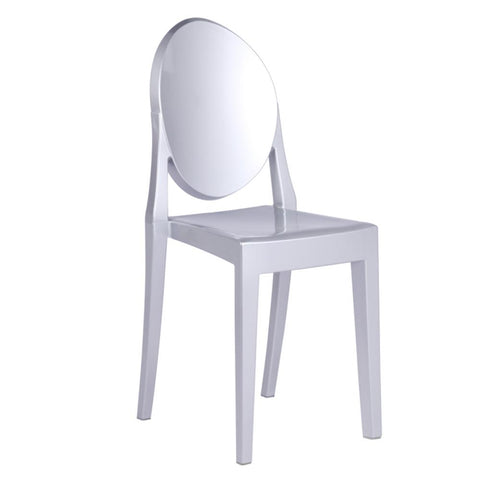 Fine Mod Imports FMI1127-silver Clear Side Chair, Silver - Peazz.com - 1