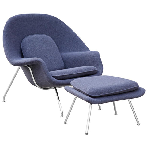 Fine Mod Imports FMI1134-gray Woom Chair and Ottoman, Gray - Peazz.com - 1