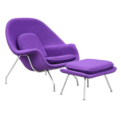 Fine Mod Imports FMI1134-purple Woom Chair and Ottoman, Purple - Peazz.com - 1