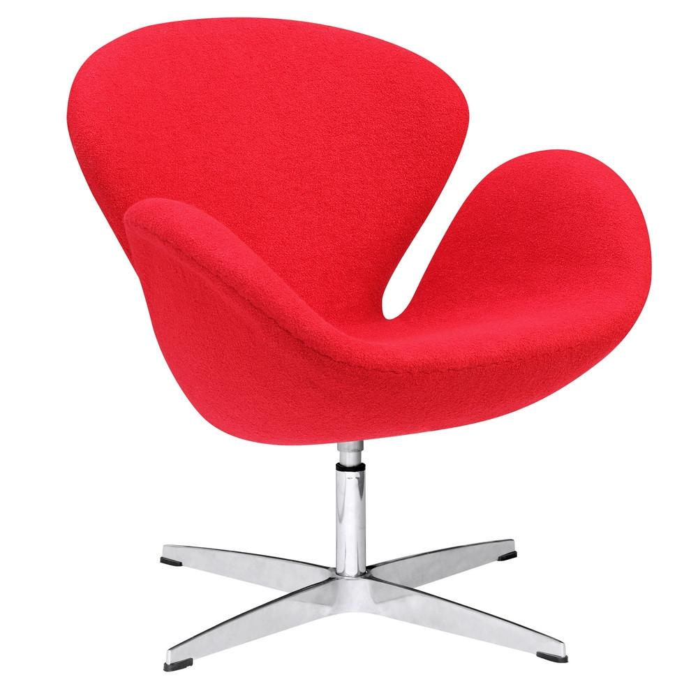 Fine Mod Imports FMI1140-red Swan Chair Fabric, Red